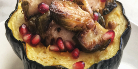 AIP Acorn Squash Bowl with Maple Chicken and Brussel Sprouts