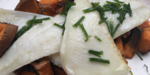 AIP Wild Caught Fish and Roasted Sweets with Chive Vinaigrette